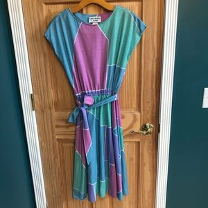 Vintage color block midi dress